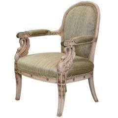 19th Century Parcel Gilt Empire Style Fauteuil