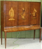 Italian 1940s Cabinet on Stand with Marquetry Doors image 2