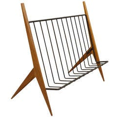 Modernist Mahogany and Iron Magazine Rack