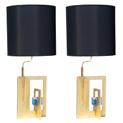 Pair of Italian Gilt Iron and Faceted Glass Lamps