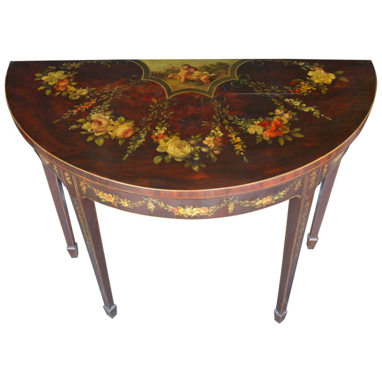 George III Paint Decorated Demilune Game Table, circa 1780