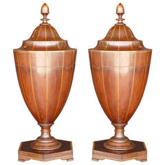 Pair of George III Mahogany Cutlery-Urns