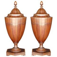 Pair of George III Mahogany Cutlery-Urns