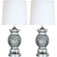 Large-Scale Pierced Ceramic Chinoiserie Lamps