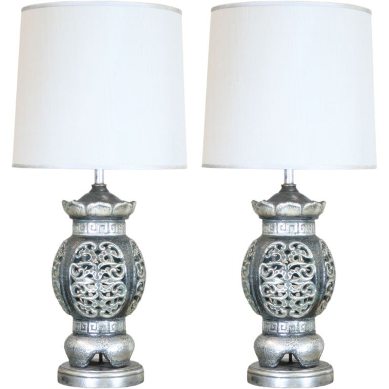 Large-Scale Pierced Ceramic Chinoiserie Lamps 1