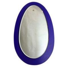 Large Italian Blue Teardrop Shaped Mirror
