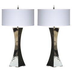 Pair of Forged Stainless Lamps by Curtis Norton