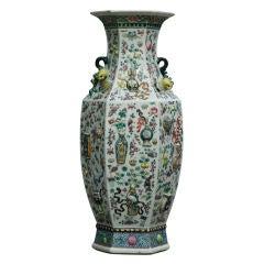 Large 19th Century Moulded Famille Rose Hexagonal Baluster Vase