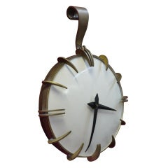 Bronze And Enamel Modernist Wall Hanging Clock