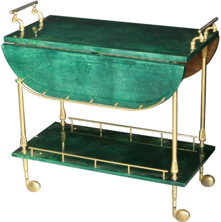 Malachite Green Parchment Gold Plated Bar Cart By Aldo Tura For