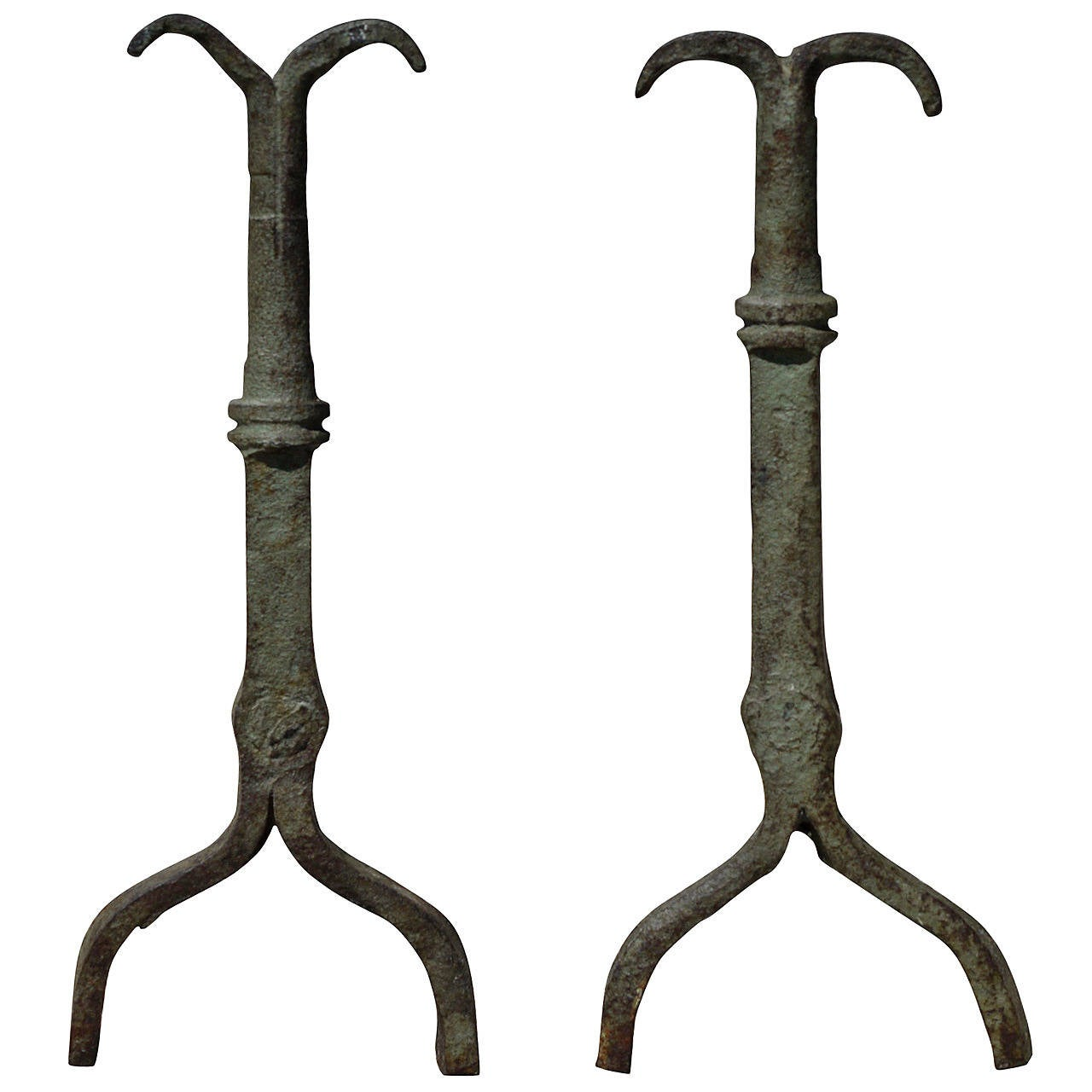 Early 18th Century Forged Iron Andirons