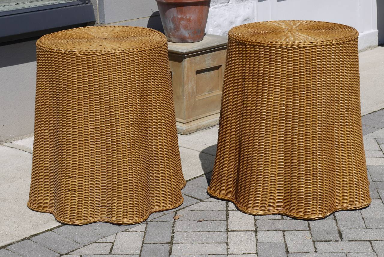 Pair Of Vintage Draped Wicker End Tables 2
