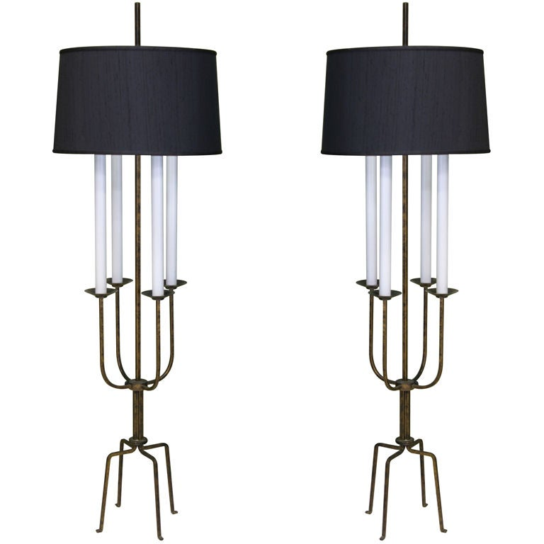 gilt wrought iron candelabra floor lamp by tommi parzinger at 1stdibs. Black Bedroom Furniture Sets. Home Design Ideas