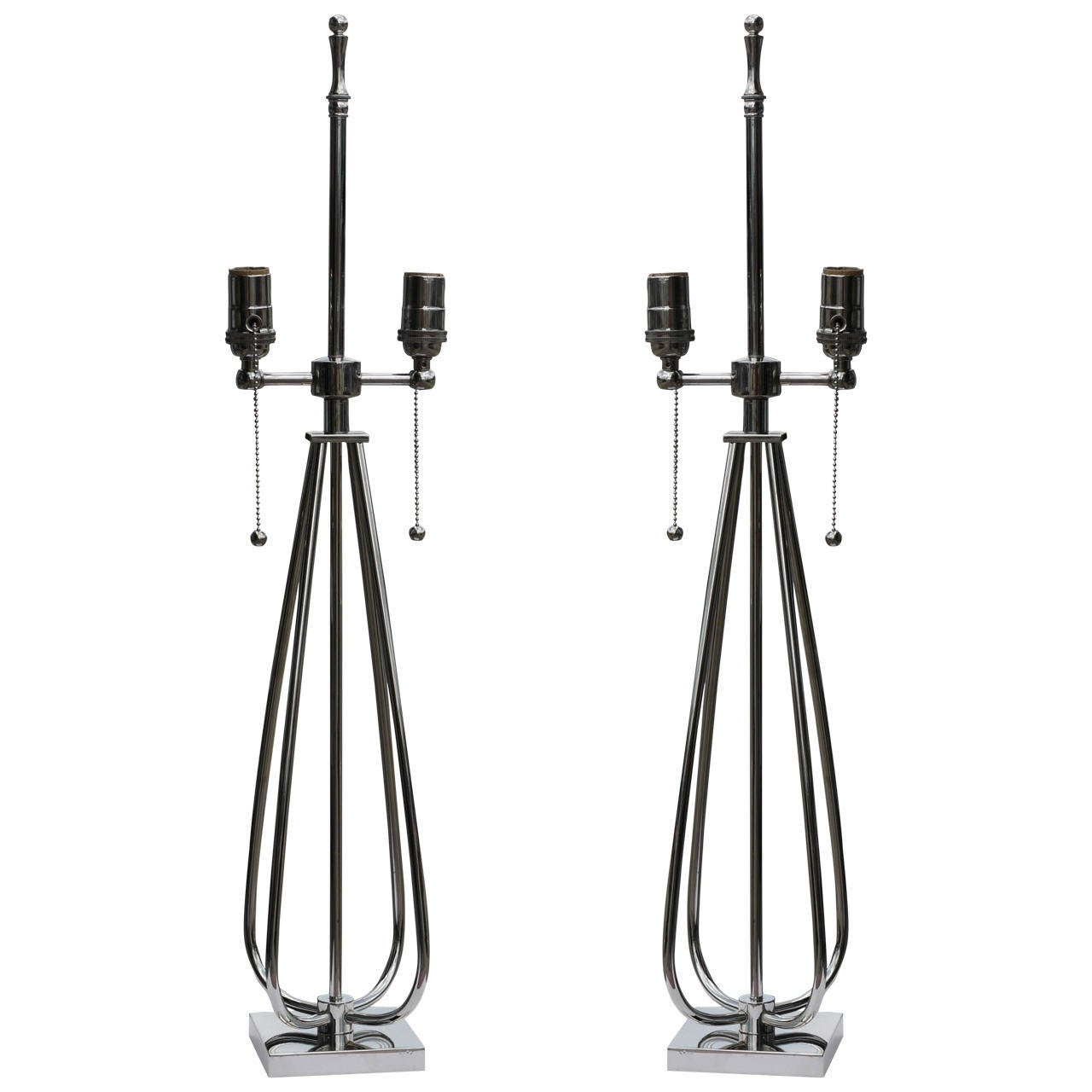 Stunning Pair of Nickel Midcentury Lamps