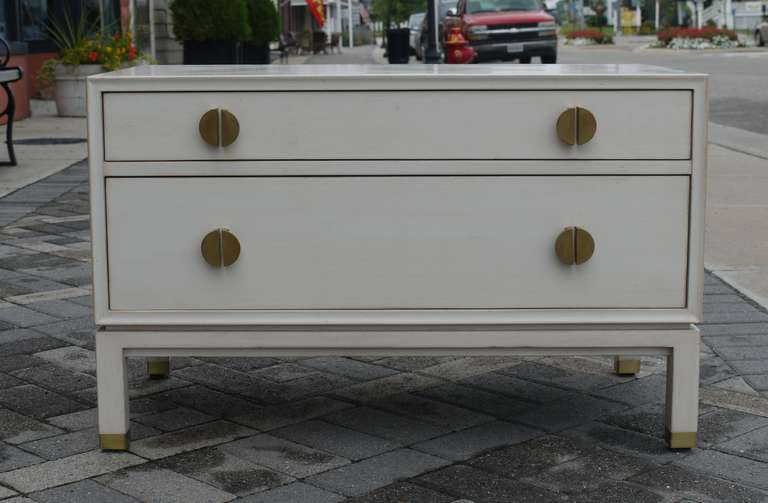 Mid-Century Modern Faux Ivory Low Chest by Dunbar For Sale