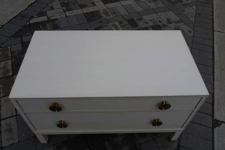 Faux Ivory Low Chest by Dunbar For Sale 2
