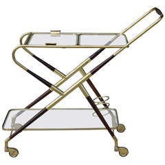Brass and Mahogany Cart by Cesare Lacca
