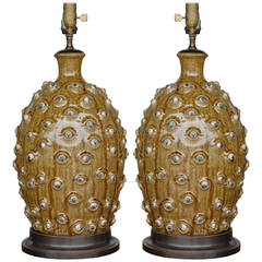 Pair of Handmade Catawba Valley Pottery Lamps by Michael Ball