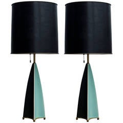 Pair of Gerald Thurston Fin Lamps for Lightolier