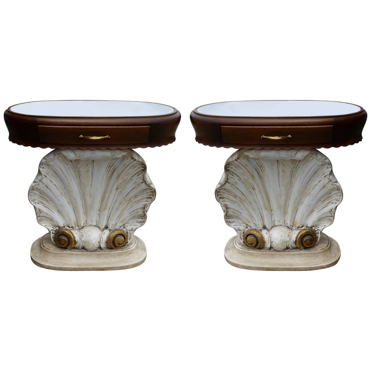 Pair of Italian Scallop Shell End Tables 1