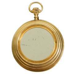 Gold Plated Italian Pocketwatch Mirror attr. to Fornasetti