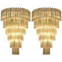 Huge Pair of Venini Triedi Sconces