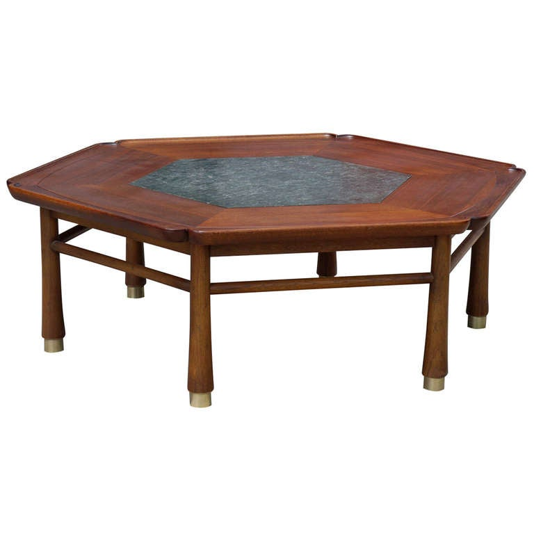 Walnut And Slate Coffee Table By Heritage At 1stdibs