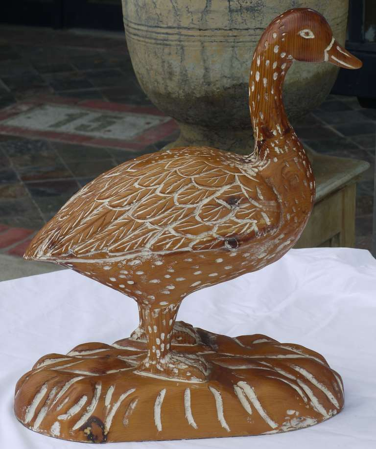 Carved Wood Duck By Sarreid At 1stdibs
