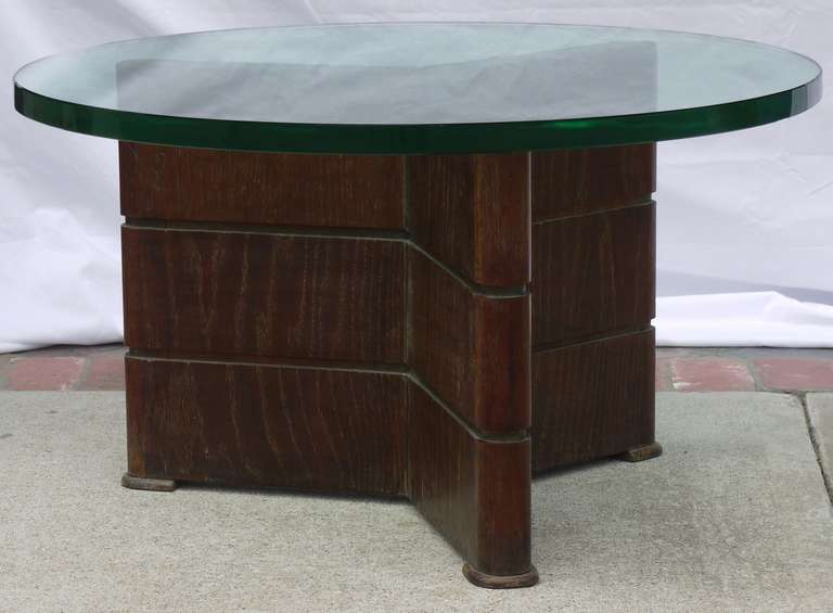 "A wonderful coffee table constructed of an old cerused oak finish over timber construction by Osvaldo Borsani with a massive 1"" thick polished edge original green glass top.  This is listed as a coffee table as that's what it's original use was for"