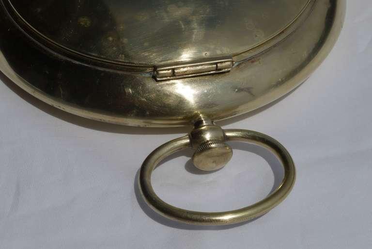 Vintage Italian Pocket Watch Shaped Brass Box In Good Condition For Sale In Kilmarnock, VA