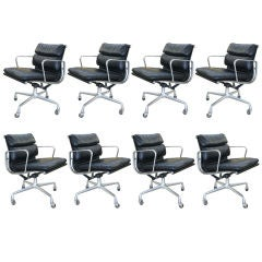 """Set of Eight Eames """"Soft Pad"""" Chairs designed for Herman Miller"""