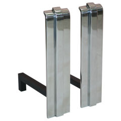Pair of Polished Stainless Steel Andirons by Karl Springer