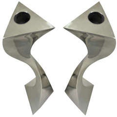 Pair of Forged Stainless Candlesticks by Curtis Norton