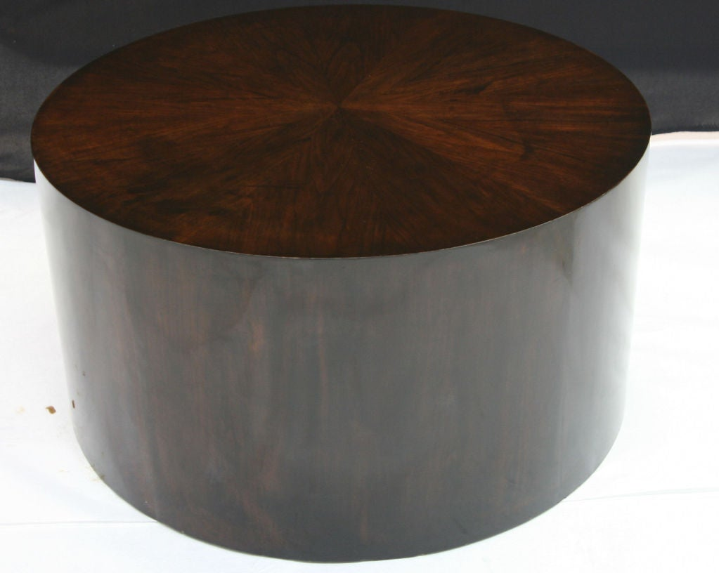 Ebonized Drum Coffee Table in Polished Lacquer 3 - Ebonized Drum Coffee Table In Polished Lacquer At 1stdibs