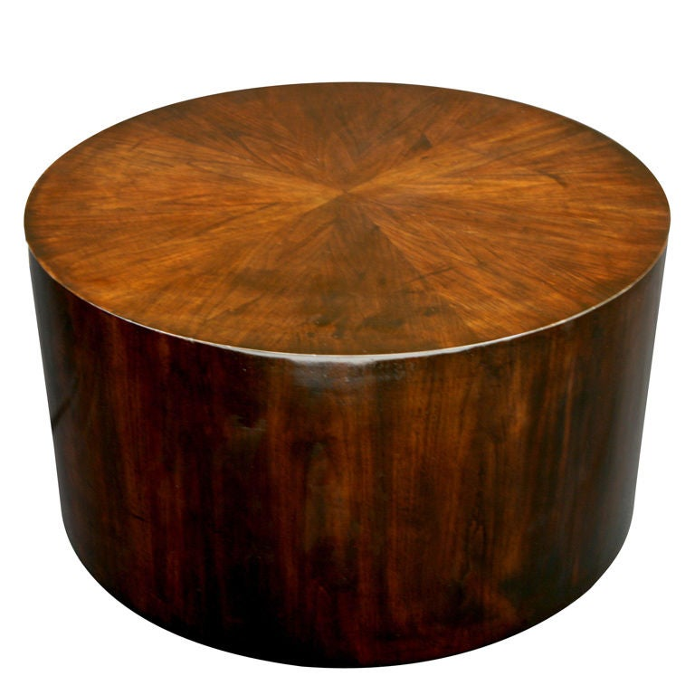 Ebonized Drum Coffee Table In Polished Lacquer At 1stdibs