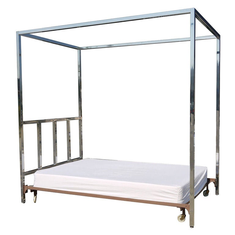 pace chrome canopy queen size bed at 1stdibs