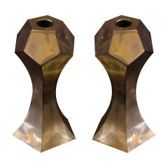 Pair of Artisan Forged Copper Candlesticks