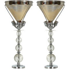 A Rare Pair of Stacked Crystal and Chrome Lamps by Jacques Adnet