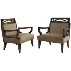Pair of Camouflage Gilt Chairs by James Mont