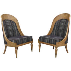 Pair of Spoonback Amboyna Burl Chairs by Mastercraft