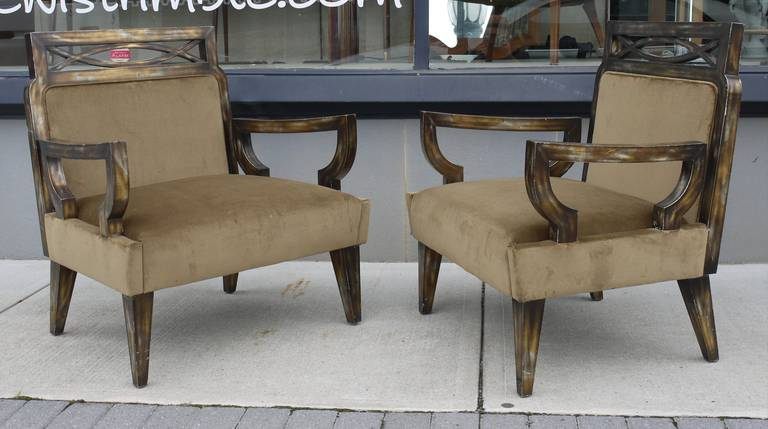 Mid-20th Century Pair of Camouflage Gilt Chairs by James Mont For Sale