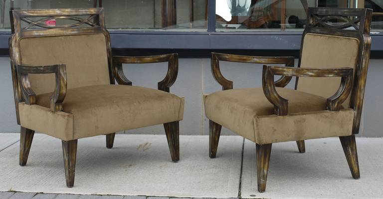 Giltwood Pair of Camouflage Gilt Chairs by James Mont For Sale