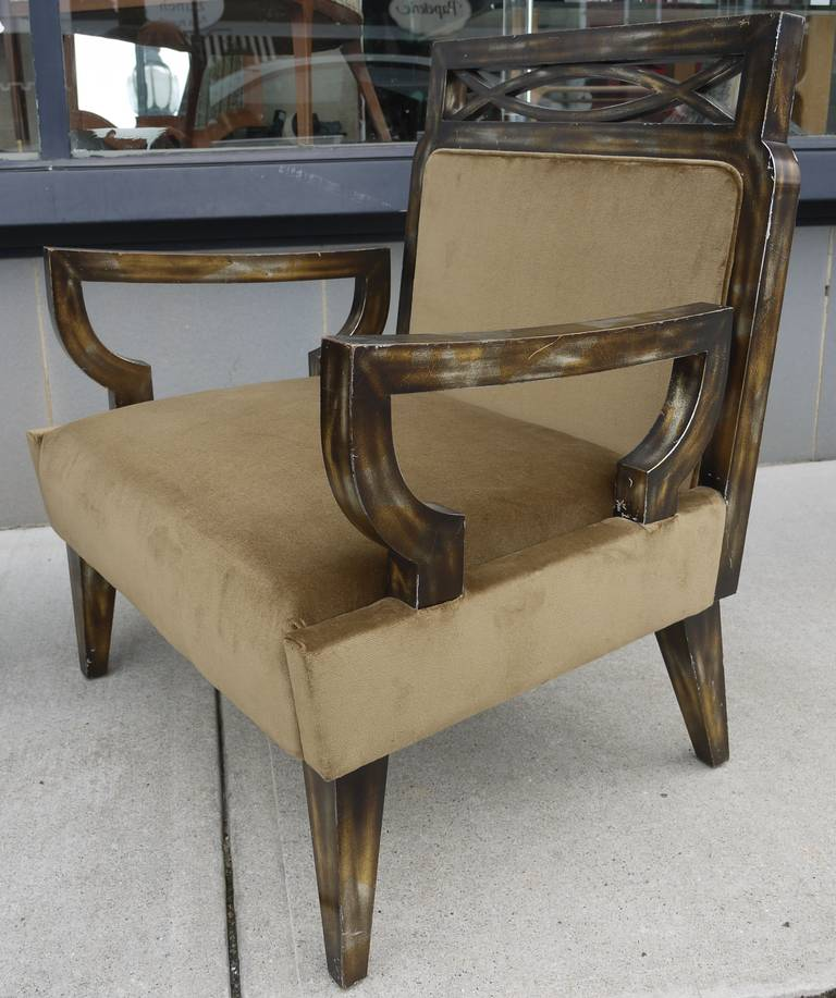 Pair of Camouflage Gilt Chairs by James Mont For Sale 1