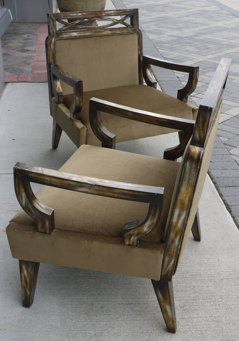 Pair of Camouflage Gilt Chairs by James Mont For Sale 3