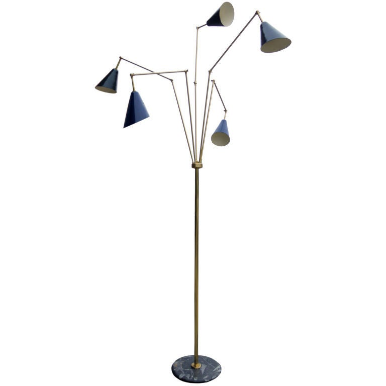 italian adjustable multiple arm floor lamp for sale at 1stdibs. Black Bedroom Furniture Sets. Home Design Ideas