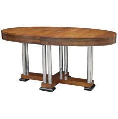 Austrian Deco Chrome and Walnut Extendable Table