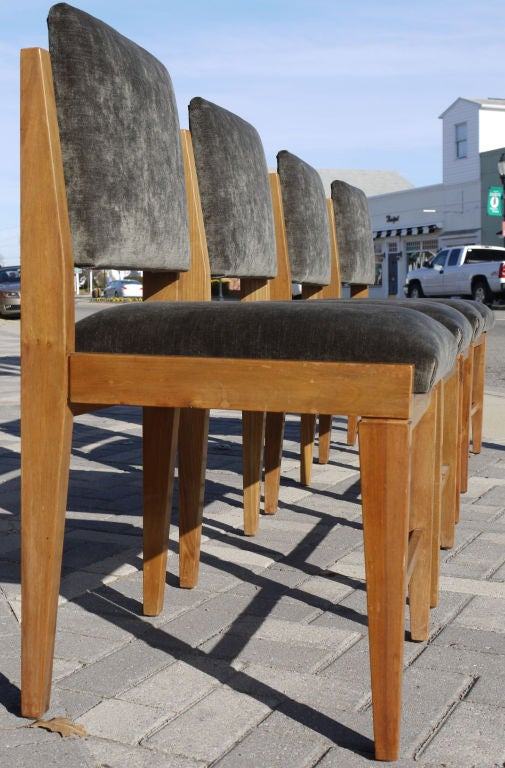 Joinery Set of 8 French Modernist Walnut Chairs For Sale