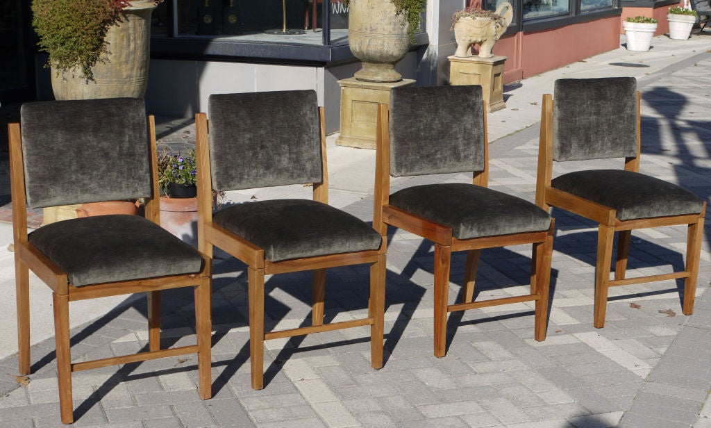 Mid-20th Century Set of 8 French Modernist Walnut Chairs For Sale