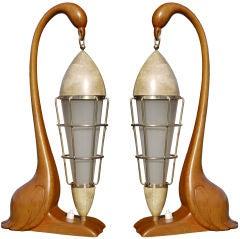 Surrealistic Pair of Aldo Tura Flamingo Lamps