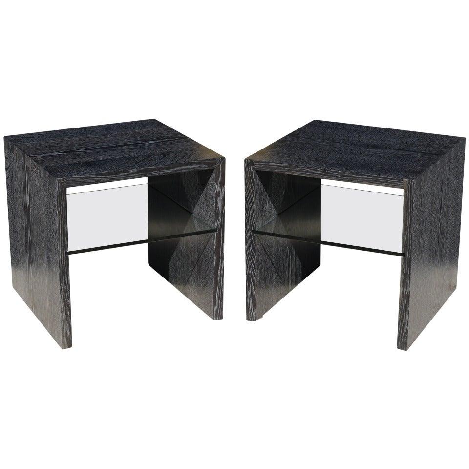 Pair of Cerused Oak End Tables